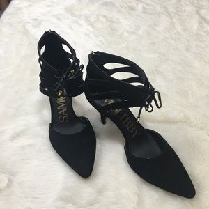 Sam & Libby Suede Corset Heels Size 9